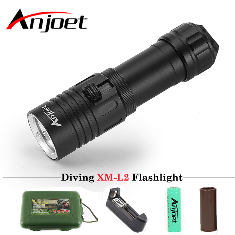 Anjoet Diving Flashlight XM-L2 1 mode lamp IPX8 Scuba lantern led Underwater Dive torch 18650 or 26650 rechargeable battery powerful underwater flashlight led scuba diving lanterna xml l2 waterproof led torch dive light 18650 26650 rechargeable battery