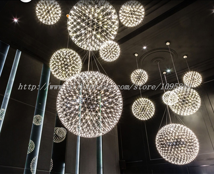 Spark LED Chandelier Light Pendant Lamp Fireworks Ceiling Fixtures Lighting D 30/40/50/60cm Globe