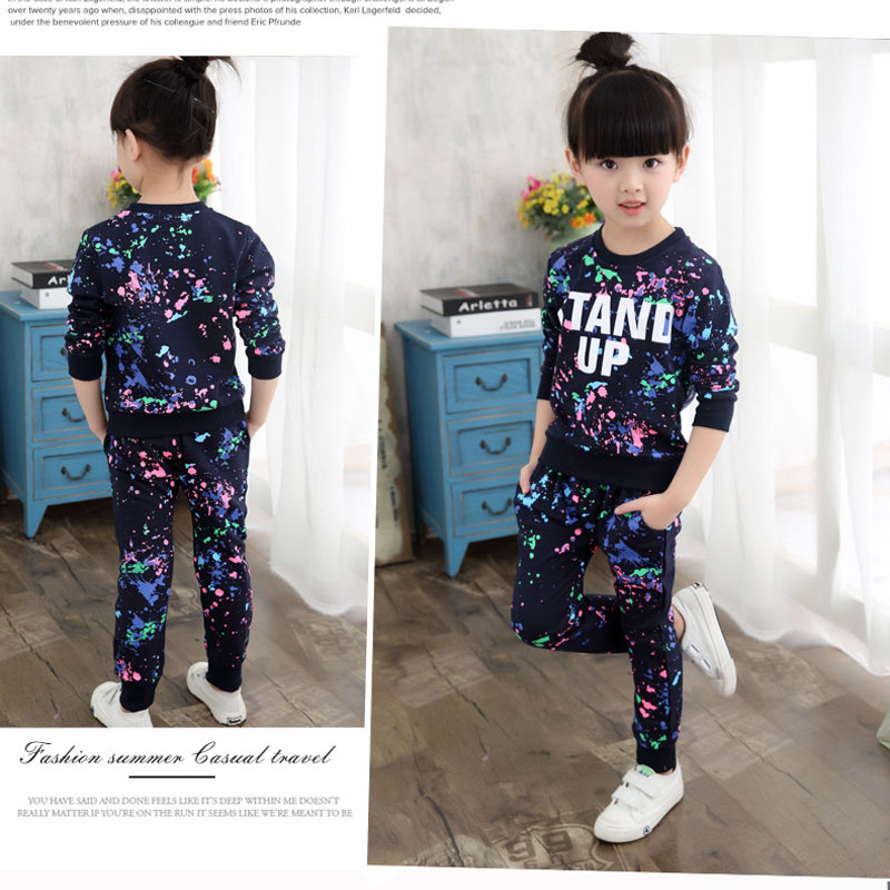 Girls Sports Suits 100% Cotton Spring Sportswear Outfits Girls Tracksuits Graffiti Letter Clothing Sets For 5 6 8 10 12 14 Year