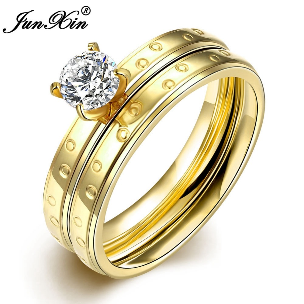 Junxin Crystal White Cz Band New Fashion Stainless Steel Ring Set Cheap Men  Women Rings For