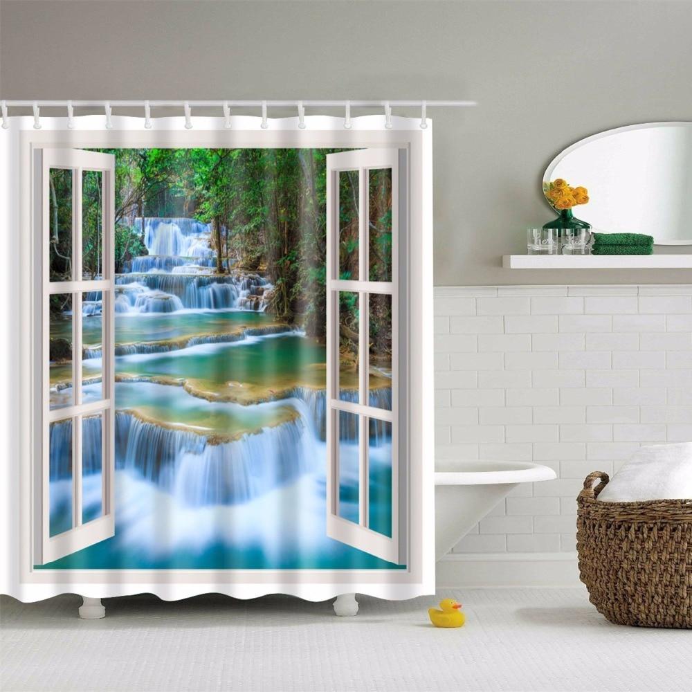 papa e mima finestra stampato tende da doccia impermeabile poliestere tende bagno con ganci decorativi vasca