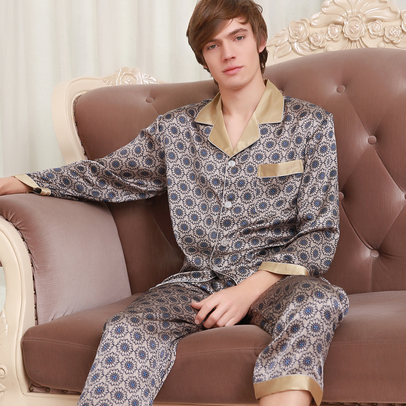 Men's Genuine Silk Pajamas 2019 New Fashion Printed 100% Silk Sleepwear Male Long Sleeve Pyjama Pants Two-Piece Sets 039