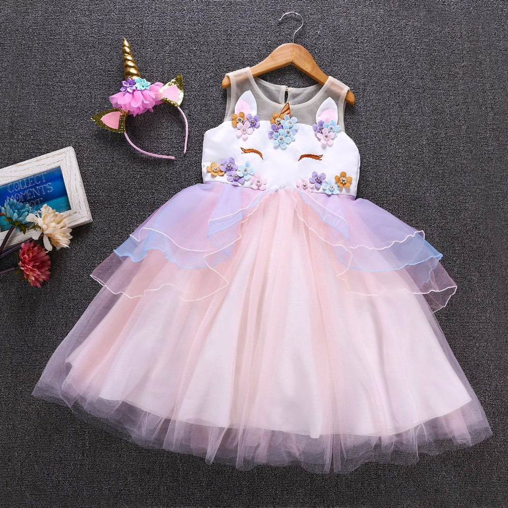 Fancy Kids Unicorn Tulle Dress for Girls Embroidery Ball Gown Baby Flower Girl Princess Dresses Cosplay Party Costumes Unicornio