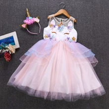 Fancy Kids Unicorn Tulle Dress for Girls Embroidery Ball Gown Baby Flower Girl Princess Dresses Cosplay Party Costumes Unicornio new fashion beautiful cute baby flower girl princess party dress bead tulle gown fancy wedding dresses