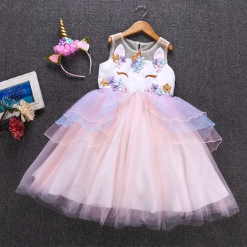 Fancy Kids Unicorn Tulle Dress for Girls Embroidery Ball Gown Baby Flower Girl Princess Dresses Cosplay Party Costumes Unicornio leather