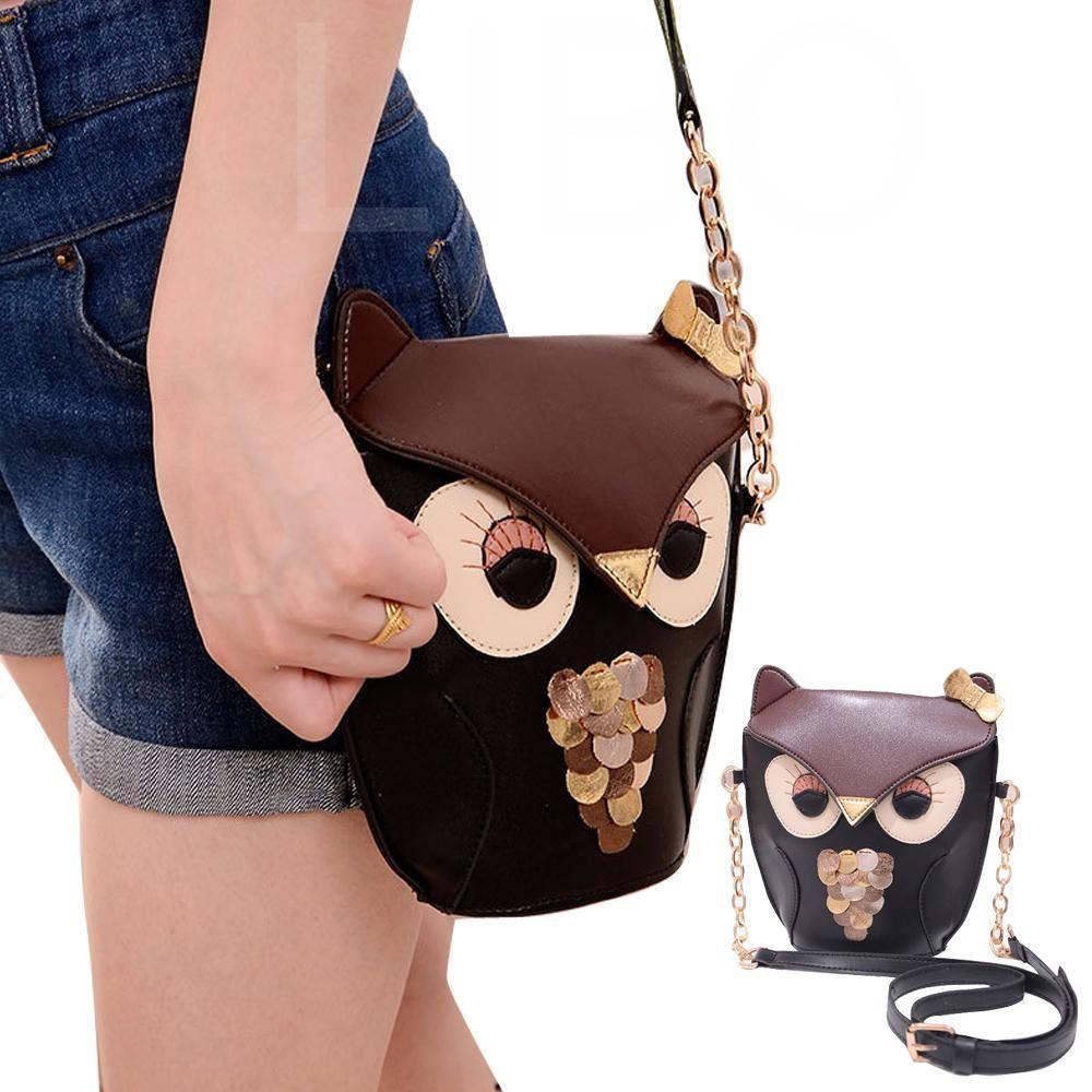 Womens Owl Pattern Shoulder Messenger Bag Cross Body Bag