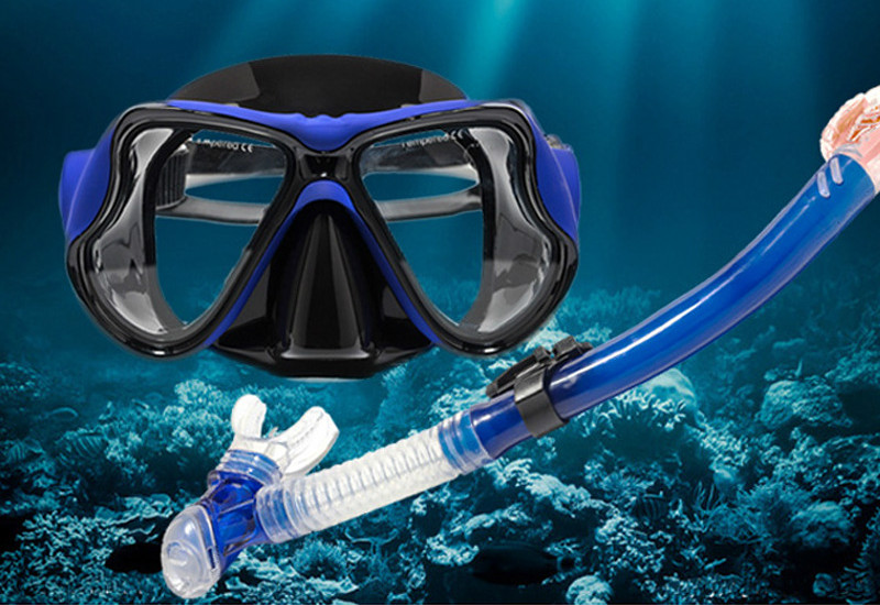 Swimming goggles breathing tube set edible grade silica gel diving surface mirror anti fog HD adult diving equipment