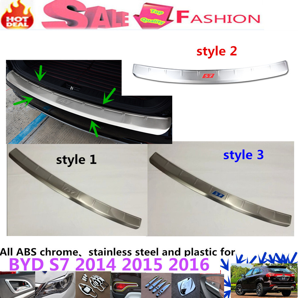 Car Styling Hot cover Stainless Steel outside Rear Bumper Protector trim plate pedal threshold 1pcs For BYD S7 2014 2015 2016 for porsche cayenne 2015 stainless steel outer rear bumper foot plate trim 1pcs car styling