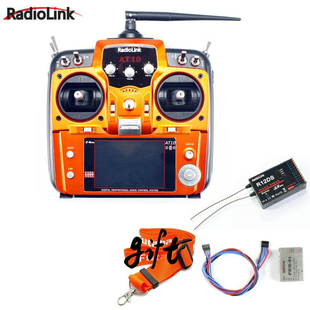 Promotion! RadioLink AT10 II 2.4Ghz 10CH RC Transmitter +R12DS Receiver PRM-01 Voltage Return Module+11.1v 2200mah battery+Strap 2 4ghz 10ch radiolink at10 ii upgraded at10 rc transmitter with r12ds receiver prm 01 for rc camera drone airplane quadcopter