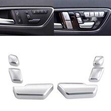 Silver Car Seat Button Switch Cover For AMG Mercedes Benz W212 W176 W218 W204 W205 X204 GL450 GLK GL ML C E Class Button Cover durable car steering wheel cover for mercedes benz w212 c180 e63 c300 e250 c e class glk glc gle amg x204 w205 w203 w204 w202