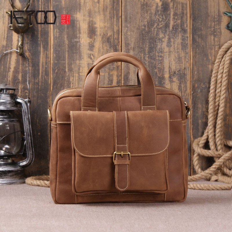 AETOO Imported first layer of leather handbag casual simple shoulder diagonal package men's computer bag polo women golf club clothing bag handbag nylon first layer of leather