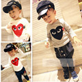 HOT autumn children t-shirts long sleeve clothing wholesale embroidered hearts kids clothing for girls and boys t shirt jacket