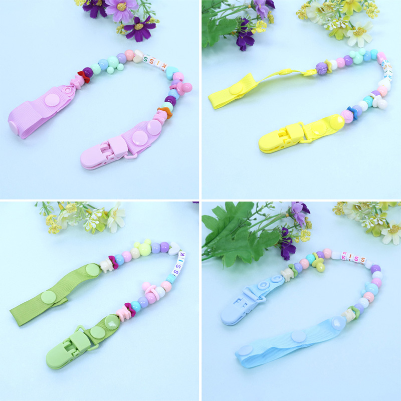 Newborn Baby Pacifier Clips Nipple Chain Hand Made Colourful Cute Letter Beads Dummy Clip Baby Kids Soother Nipple Toys Holder