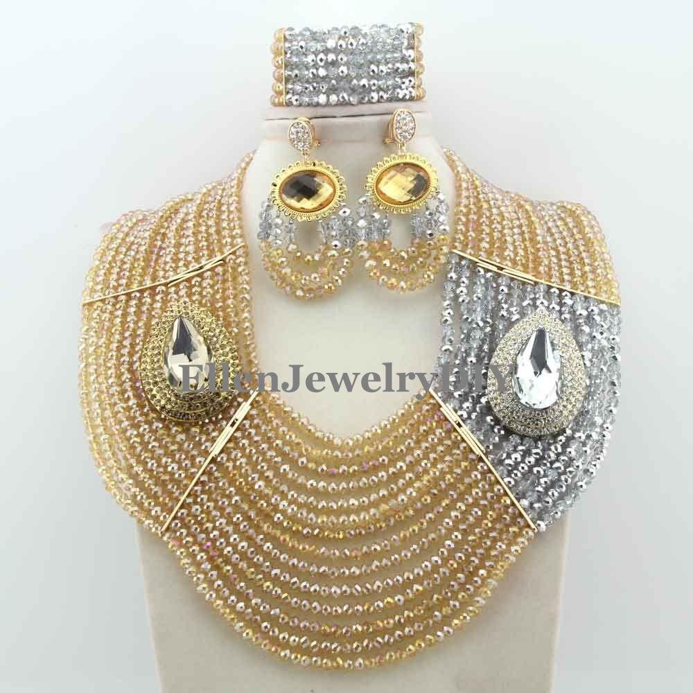 Handmade Statement Necklace Chunky necklace Wedding Jewelry Sets Nigerian Beaded Wedding Bridal Necklace Jewelry Set W12377 necklace luisa vannini jewelry necklace