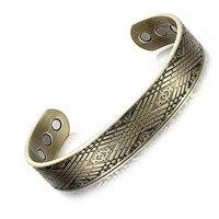 European and American Fashion Retro Bronze Magnet Bracelet C type Open Copper Bracelet