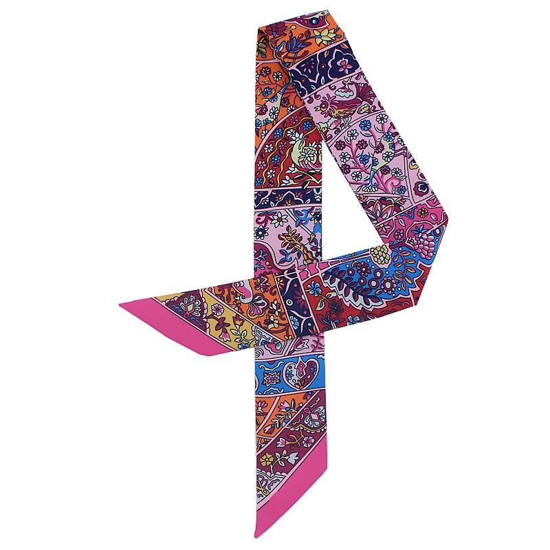 POBING New Design Bird Floral Print Silk   Scarf   Women Head   Scarf   Brand Small Tie Handle Bag Ribbon Long   Scarves     Wraps   100*5CM