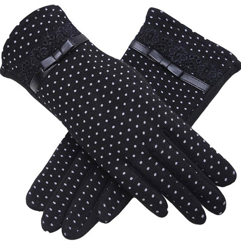 Fashion Female Winter Warm Women Outdoor Sports Touch Screen Plus Cashmere Gloves Lady Bow Lace Cotton Full Finger Gloves 13A