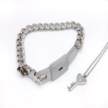 Couple Titanium Steel Lock Bangle Bracelet & Key Pendant Necklace  Sets Love Gift цена в Москве и Питере