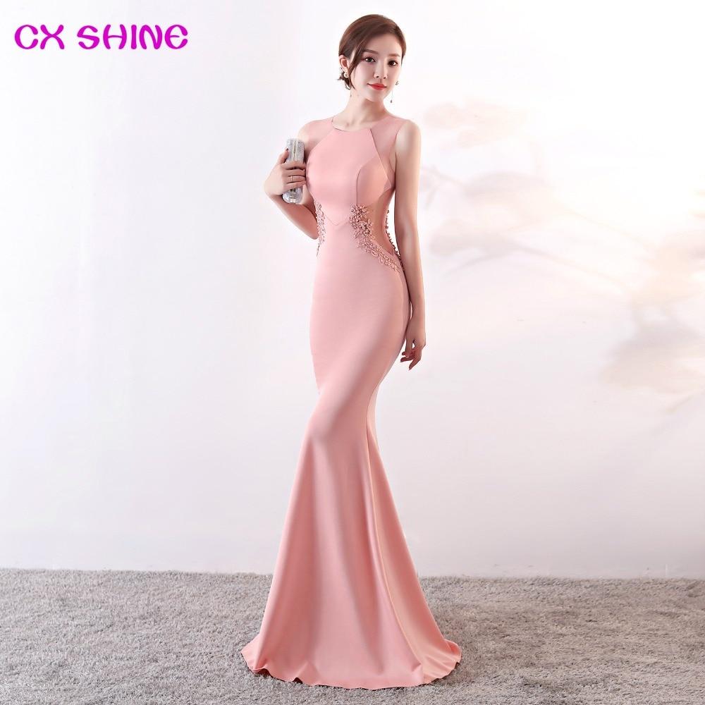 Long Evening Dresses CX SHINE Lace Flowers Beading Sexy Mermaid Trumpet Long Prom Party Dress Elasticity Robe De Soiree Vestidos