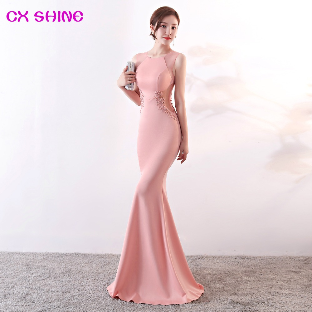 long evening dresses CX SHINE Lace flowers beading sexy mermaid trumpet long prom party dress elasticity robe de soiree Vestidos