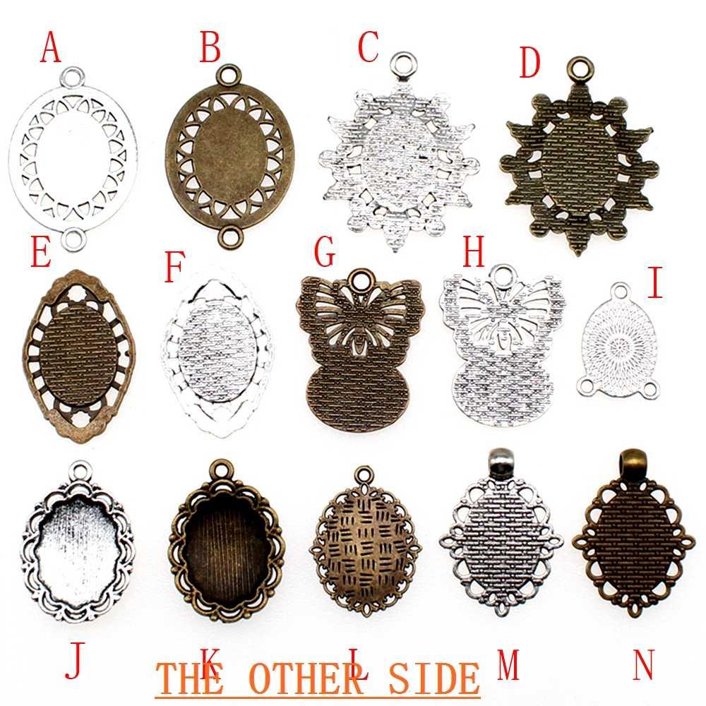 10 Buah 13X18 Mm Bulat Kaca Cabochon Dasar Pengaturan Liontin Tray untuk Perhiasan DIY Membuat