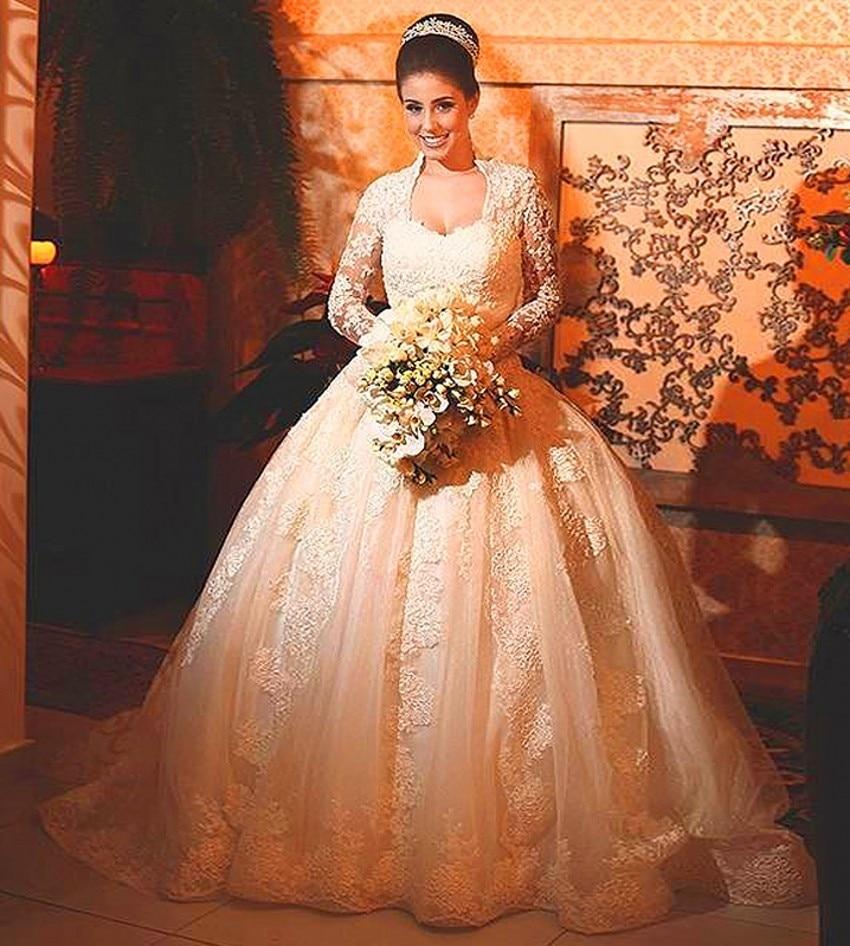 V Neck Ball Gown Wedding Dress Vintage Bridal Bride Long