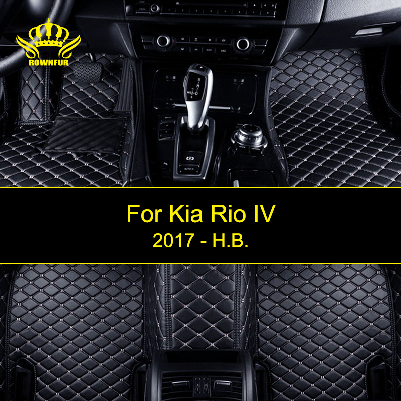 ROWNFUR New Car Floor Mats For Kia Rio IV 2017 Protect The Car Clean Waterproof Leather Floor Mats Auto Interior Car Carpet Mat bear claw floor mats for kia amanti
