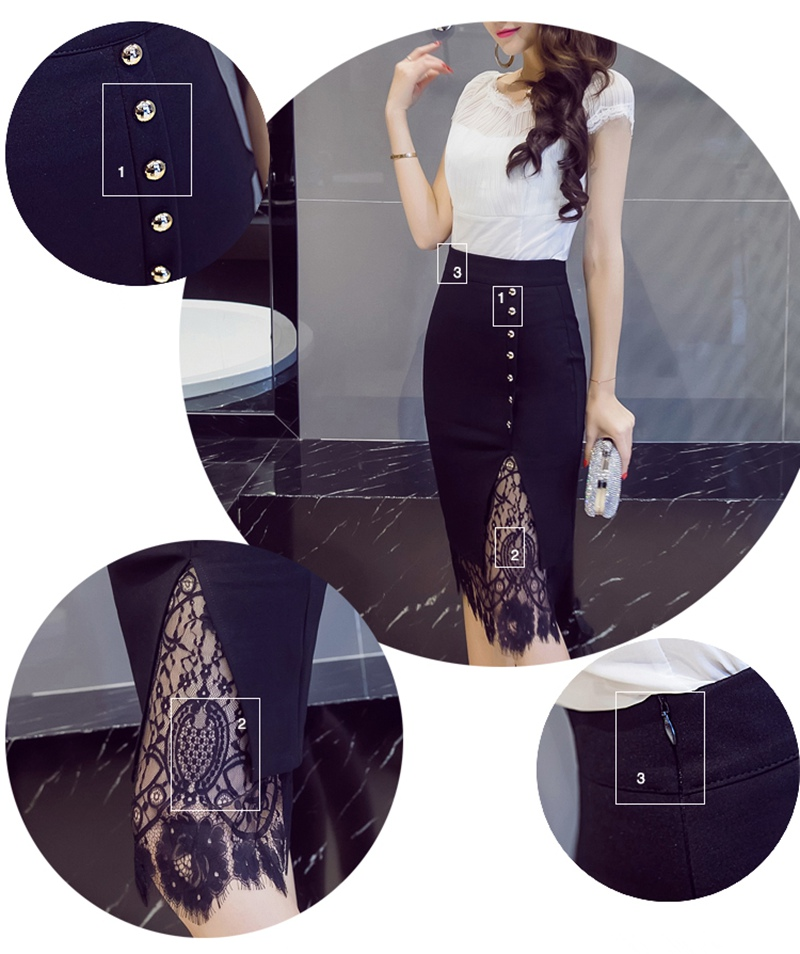 Women's Skirt High Waist Pencil Skirt Summer 2017 Fashion Women Knee Length Lace Patchwork Lady Formal Work Skirts Plus Size 4