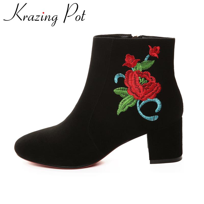 Krazing Pot new arrival genuine leather embroidery flower winter shoes thick heel fashion Chelsea runway boots ankle boots L66
