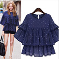 [TWOTWINSTYLE] 2017 Spring O-neck Polka Dot Butterfly Sleeve Loose Pullovers T-shirt Women New Fashion Clothing