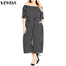 Striped Rompers Womens Jumpsuits 2018 Summer Casual Loose Female Playsuits Sexy Slash Neck Off Shoulder Belt