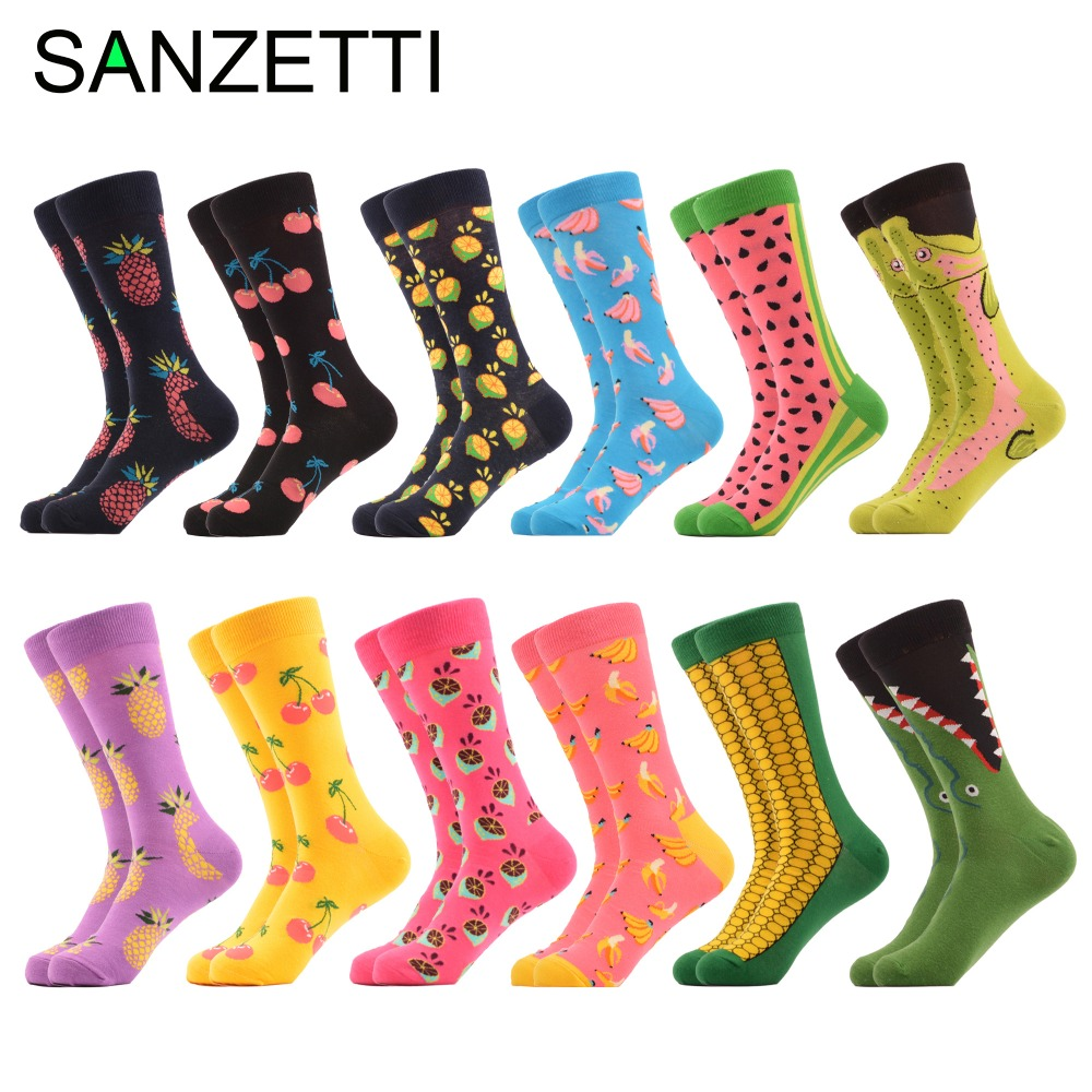 Underwear & Sleepwears Sanzetti 12 Pairs/lot Colorful Mens Combed Cotton Funny Winter Warm Casual Dress Socks Novelty Male Fashion Wedding Socks Gifts