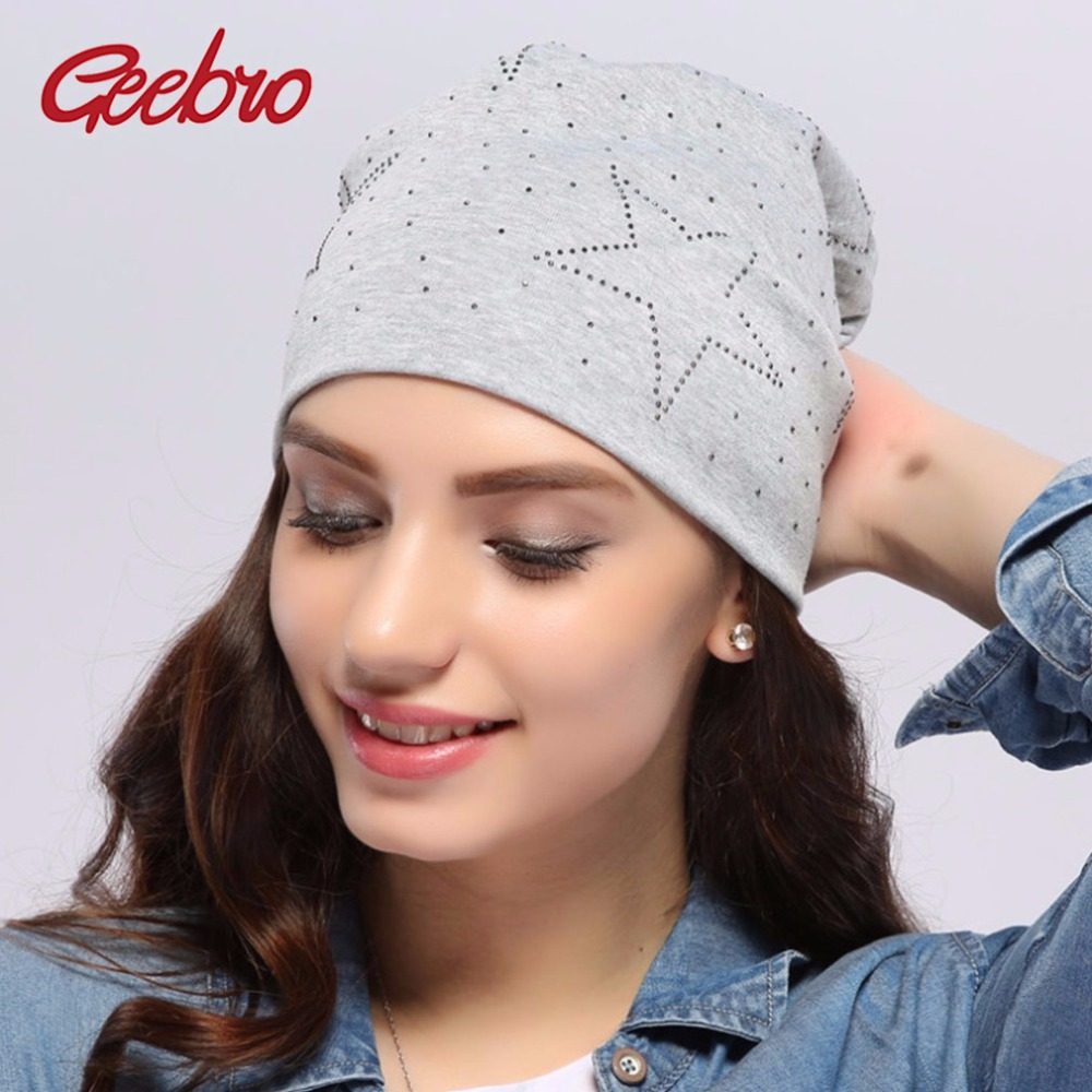 111dc52ad994f7 Geebro Women's Beanie Hat Autumn Casual Star Rhinestone Slouchy Beanies for Women  Female Light Grey Cotton