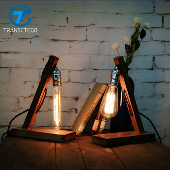table lamp Edison bulb wood desk light American country vintage hall Coffee Nordic lamp Industrial bedside Creative decoration