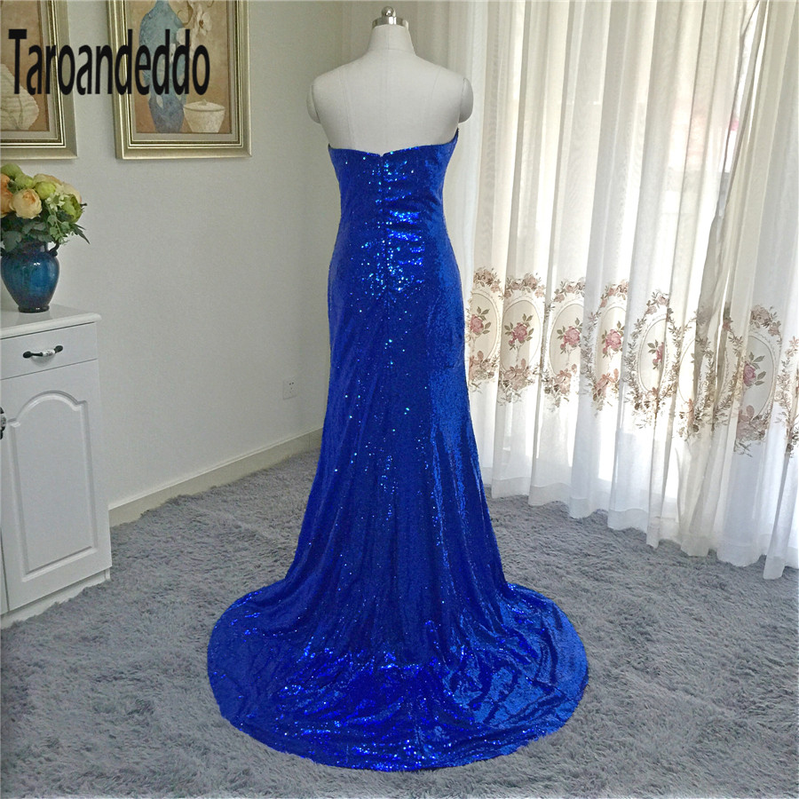 Strapless Royal Blue Sequin Cheap Prom Dress Mermaid Sequin Evening ...