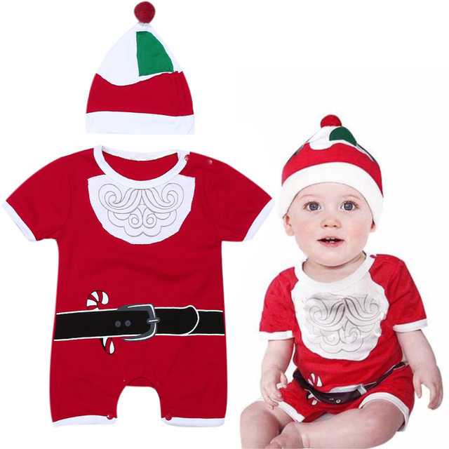 d0974bc5a Newborn Christmas Clothes Baby Boys Girls Short Sleeve Santa Clause Romper+ Hat  Outfits Kids Festival Party Costume