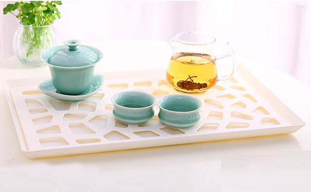 Incroyable Fruit Bowl Plate Tea Cup Tray Decoration Coffee Cups Storage Organizer  Plastic Serving Tray Kitchen Drain