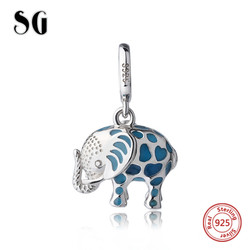 Fit authentic pandora charms Bracelet silver 925 cute glowing elephant pendant beads with enamel diy jewelry making women Gifts