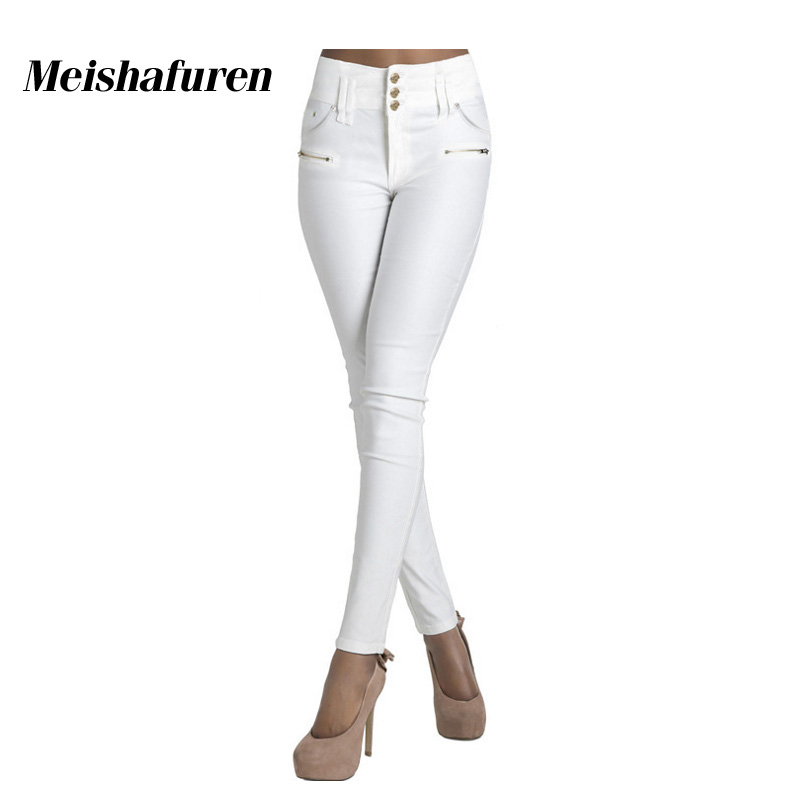 Donna Women White Jeans 3 Buttons High Waist Skinny Stretch Material Denim Jean Trousers Elegant Elastic Slim Pencil Pants K454Z 2017 new jeans women spring pants high waist thin slim elastic waist pencil pants fashion denim trousers 3 color plus size
