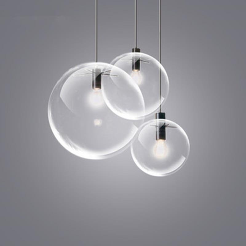 Modern Glass Ball Pendant Lights For Dining Room Dia20/25/30cm Metal E27 Pendant Lamp LED Bulb for Bedroom Kitchen 110V 220V simple handing modern 1 light led pendant lights in pearl feature for dining room bedroom e27 1 bulb included ac 110v 220