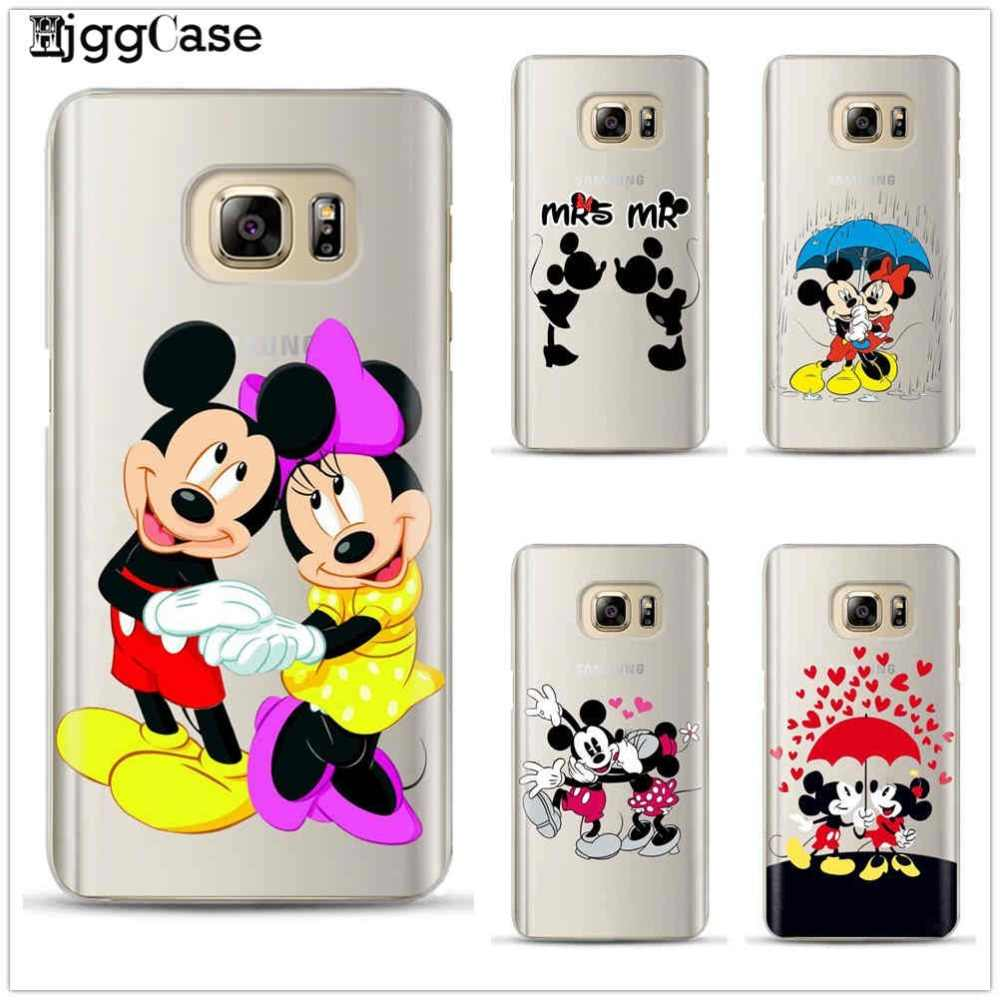 Mickey Minnie Silikon Ponsel Case PENUTUP UNTUK Samsung Coque Galaxy S6 S7 Edge S8 S9 J5 J7 A5 2017 J4 j6 A6 A8 Plus 2018 CATATAN 8 9