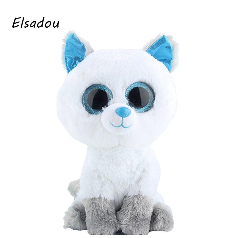 Elsadou Ty Beanie Boos Cute Animals 25cm Plus Size White Fox With Blue Eye Plush font