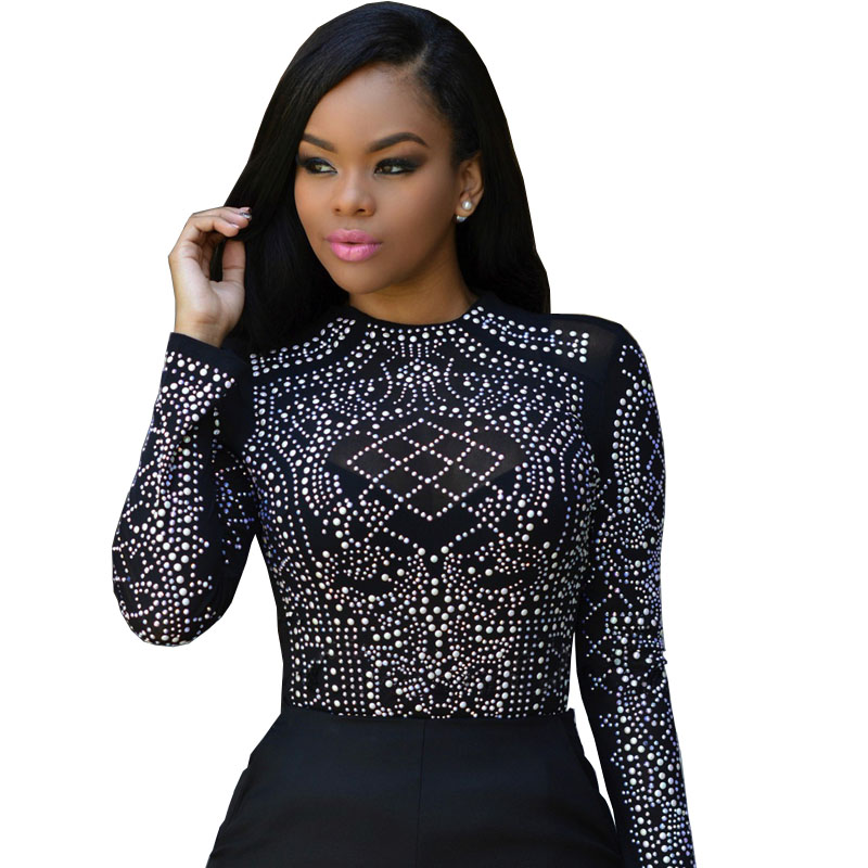 Summer 2017 t shirt women rhinestone mesh long sleeve tee for Mesh long sleeve t shirt