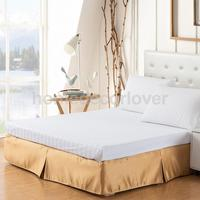 Luxury Plain Dyed Poly Polyester Platform Base Valance Sheet Bed Skirt Apron (Full, Queen, King Size Choice)
