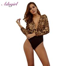 Sexy Leopard Print Deep V Neck Autumn Bodysuit Women Outfit Top Overalls Casual Long Sleeve Jumpsuit Streetwear Body Top Clothes