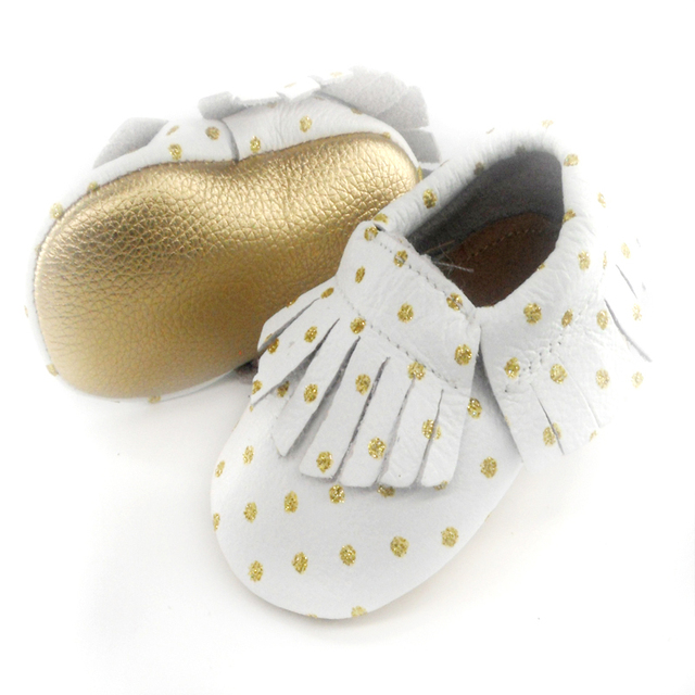 New Genuine Leather Baby moccasins First Walkers Soft gold sole Baby shoes Toddler Infant Fringe dot fringe Shoess