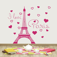 Removable I Love Paris Decal Vinyl Stickers Paris Eiffel Tower France Home Interior Kids Bedroom Living