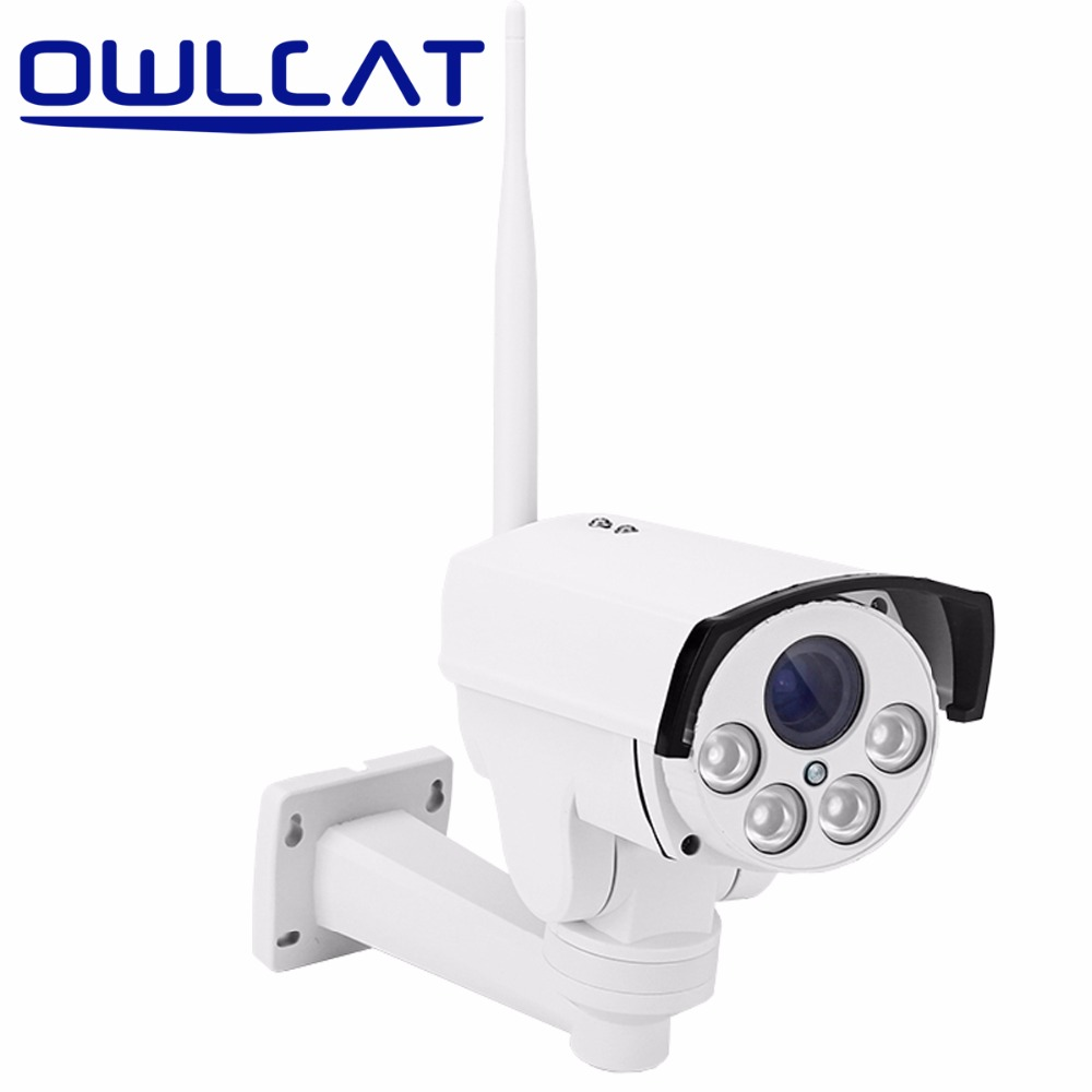 OWLCAT Full HD 1080p IP Camera PTZ Bullet Outdoor CCTV SD Card Waterproof Wifi Night IR 4X ZOOM Rotate Onvif Motion SONY IMX323 wistino 1080p 960p wifi bullet ip camera yoosee outdoor street waterproof cctv wireless network surverillance support onvif