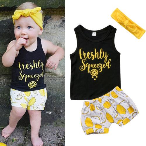 80398321c6fcf 2018 Summer Kids Baby Boys Girls T-shirt crop Tops+Pants+Headband Outfits  Set Sleeveless Vest + Short Printed Children Sets 1-5T