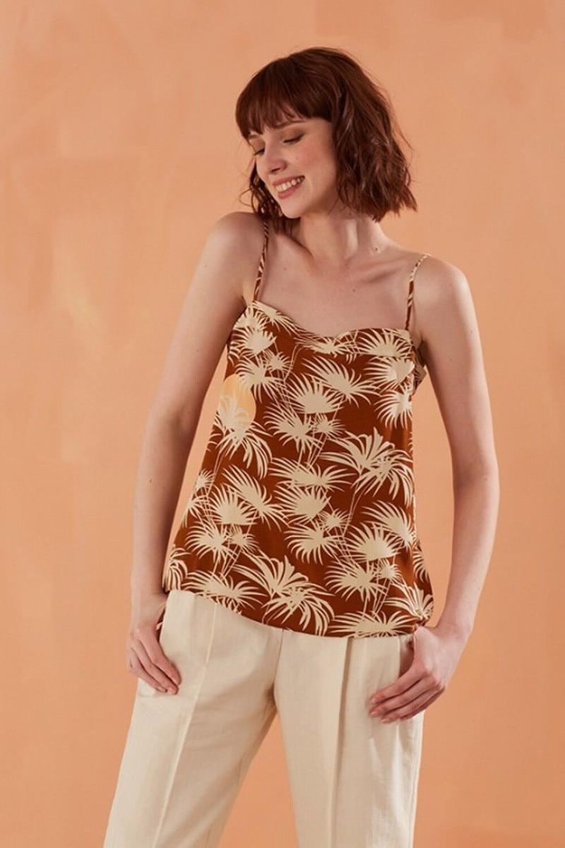 Women Palm Tree Print Sleeveless Camis Top